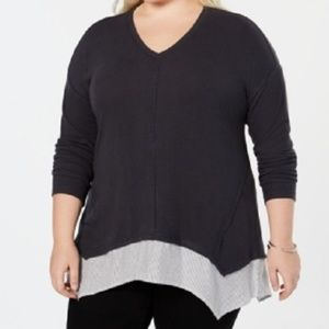 New Style & Co Mixed V Neck Sweater